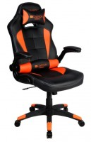 CANYON CND-SGCH2 Gaming chair, PU leather, Original and Reprocess foam, Wood Frame, Top gun mechanism, up and down armrest, Class 4 gas lift, Nylon 5 Stars Base,50mm PU caster, black+Orange.